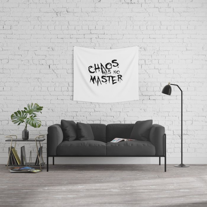 Chaos Has No Master Black Graffiti Text Wall Tapestry