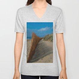 Beach Fence Landscape Unisex V-Neck