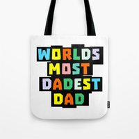dad Tote Bags featuring Dad by mailboxdisco