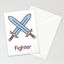 Cute Dungeons and Dragons Fighter class Stationery Cards