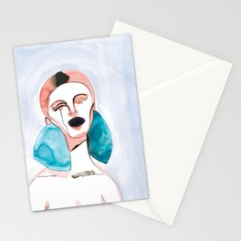 Lizzy - Red Hair, Black Lips Stationery Cards