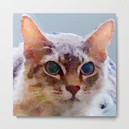 Cat Named Bella Low Poly Geometric Triangles Metal Print