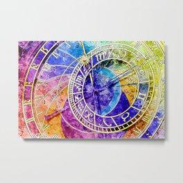 Alchemical Runes Clock Metal Print