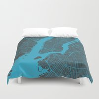 new york map Duvet Covers featuring new york map by Map Map Maps