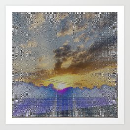 Digital Sunset Moon Day Fractal Harmonic Magick #1 Art Print
