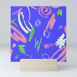 Marker Strokes Pattern in Sapphire Blue Mini Art Print