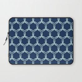 Indigo blue abstract organic cut dotty circles. Laptop Sleeve