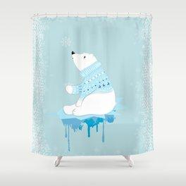 Polar bear with snowflakes Shower Curtain