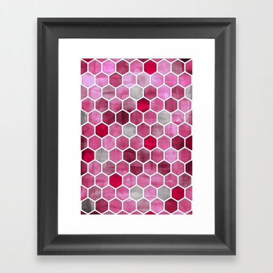 Pink Ink - watercolor hexagon pattern Framed Art Print