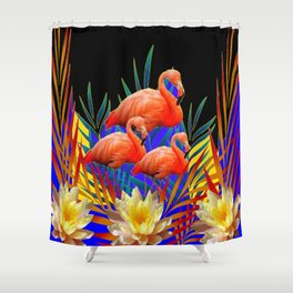 ABSTRACT BLACK-PURPLE FLORIDA FLAMINGO WATER LILIES Shower Curtain