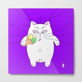 Big cat ice cream purple Metal Print