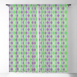 Argyle Diamond Shape Plaid Pattern Dark Purple, Light Purple, Green and Pastel Green Polka Dots Blackout Curtain