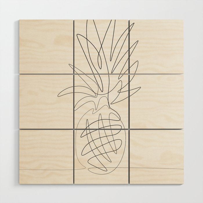 One Line Pineapple Wood Wall Art