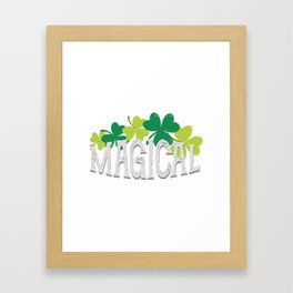 Magical Love Unicorn St Patricks Day Kids Girl Women Framed Art Print