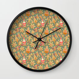Christmas Green Gingerbread Man Pattern Wall Clock