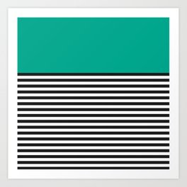 STRIPE COLORBLOCK {EMERALD GREEN} Art Print