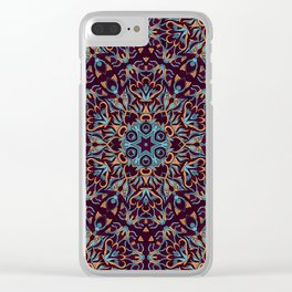 Brown and blue geometric Mandala Rich ornament Clear iPhone Case