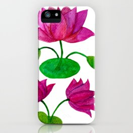 Lotus with buds and leaves iPhone Case