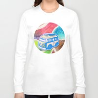 vw bus Long Sleeve T-shirts featuring VW Bus Campervan by Carrie at Dendryad Art