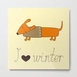 Winter dachshund Metal Print