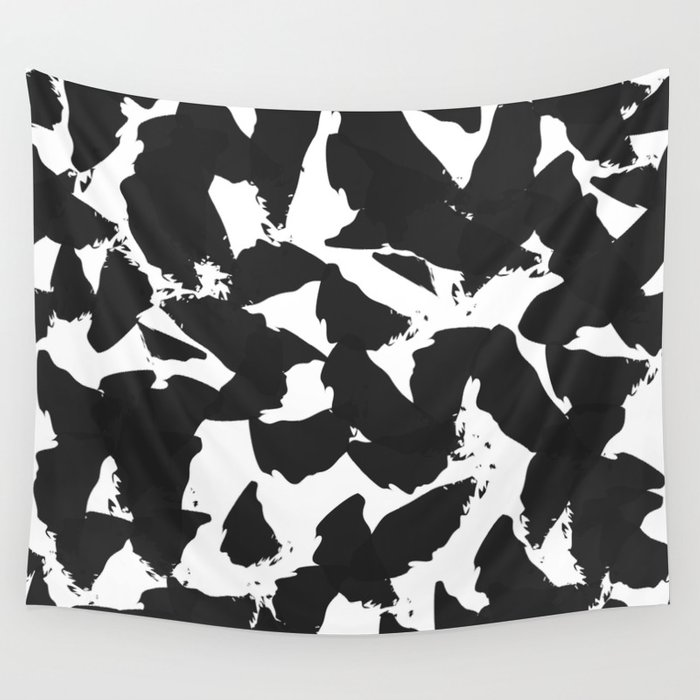 Black Bird Wings on White Wall Tapestry