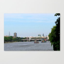 View of the River Thames from the Albert Bridge in London Canvas Print
