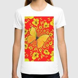 BUTTERFLIES RED  AMARYLLIS FLOWERS ABSTRACT ART T-shirt