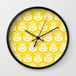 Retro Flower Pattern Yellow Wall Clock
