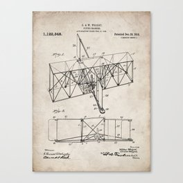 Wright Brother's Machine Patent - Airplane Art - Antique Canvas Print
