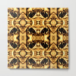 Gold Brown Fantasy Pattern Metal Print