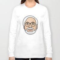 miyazaki Long Sleeve T-shirts featuring Hayao Miyazaki Portrait - Beige by Cedric S Touati