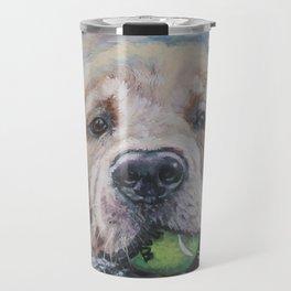 GOLDEN RETRIEVER dog portrait painting by L.A.Shepard fine art Travel Mug