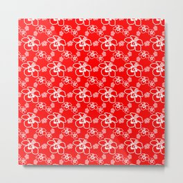 Red Hibiscus Hawaiian Pattern Metal Print