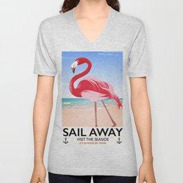 Sail Away Flamingo beach poster. Unisex V-Neck