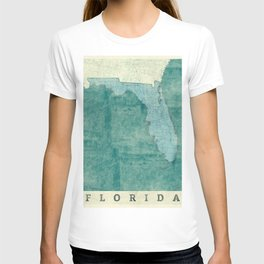Florida State Map Blue Vintage T-shirt