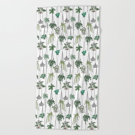 hanging pots pattern Beach Towel