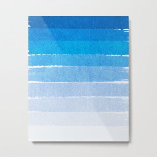Blue Ombre Brushstroke - Summer, Beach, Ocean, Water, LA Cute trendy, painterly art Metal Print