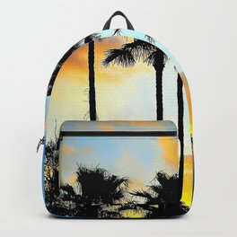 Sunset Palms // California Sunset palm Tree Silhouette Street View Orange And Blue Color Sky Beach photography  Backpack