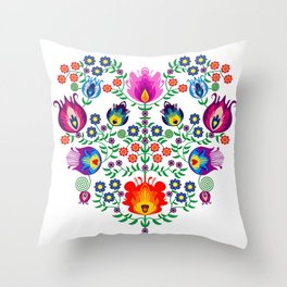 Folk Pattern - Flower Throw Pillow