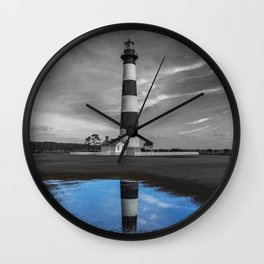 Bodie Island Lighthouse and Puddle Wall Clock