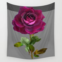 Decorative Purple Velvet  Rose Charcoal Grey Designs Wall Tapestry