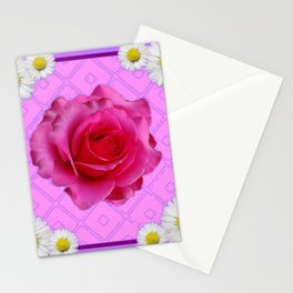 Lilac Color Shasta Daisies & Fuchsia Pink Rose Pattern Stationery Cards