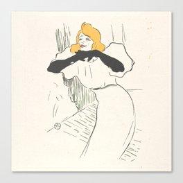 """Henri de Toulouse-Lautrec """"Yvette Guilbert, illustration from Le Rire"""" Canvas Print"""