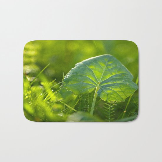 A Pure Green Leaf  Bath Mat