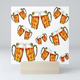 Beers forever-White Mini Art Print