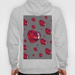GREY ART RAINING RUBY RED VALENTINES HEARTS Hoody