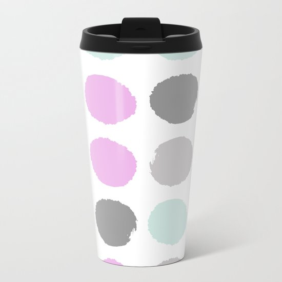 Modern pastel dots polka dots pattern basic decor for home office trendy space Metal Travel Mug