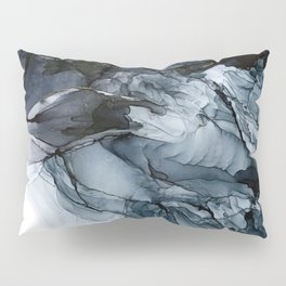 Dark Payne's Grey Flowing Abstract Painting Pillow Sham
