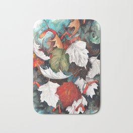 Leaves graphic black and white colorized Bath Mat