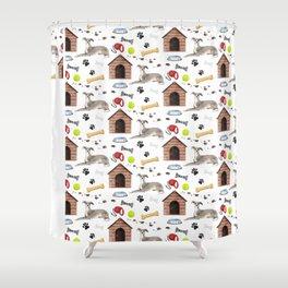 Italian Greyhound Half Drop Repeat Pattern Shower Curtain
